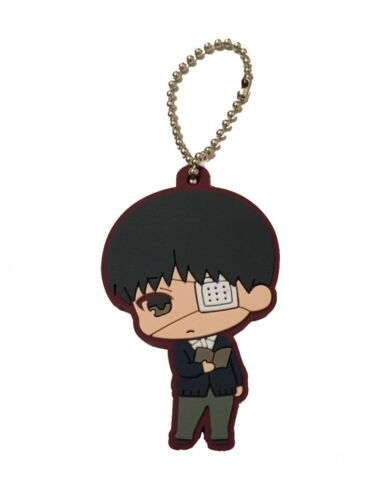 Tokyo Ghoul Anime Mascot PVC Rubber Charm Keychain Eyepatch ~ Ken Kaneki @94248
