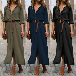 Women-039-s-Casual-Long-Sleeve-Solid-Long-Maxi-Party-Shirt-Dress-Spring-Fall-Plus