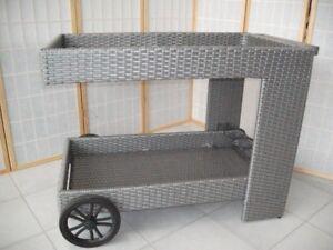 Carrello Portavivande Da Giardino : Carrello bar rattan sintetico grigio giardino per esterno carrello