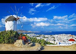 MYKONOS-GREECE-NEW-A3-CANVAS-GICLEE-ART-PRINT-POSTER