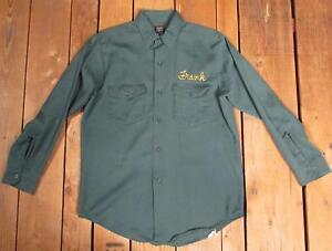 Vintage-1960s-Lee-Chetopa-Twill-Dark-Green-Work-Shirt-Sz-M-039-Frank-039-Workwear