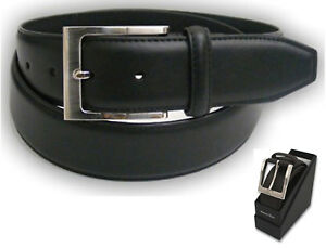 Mens Real Leather Belt Buckle Fashion Suite Trouser Waist Strap Gift Box Q5405GB
