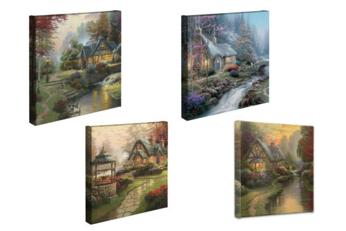 Thomas Kinkade Cottages 14 x 14 Gallery Wrapped Canvas