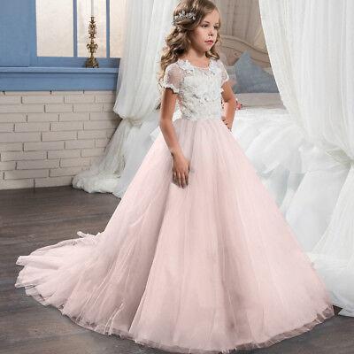 Floor length Lace Princess  Bridesmaid Sleeveless Party Flower Girls Dress ZG8