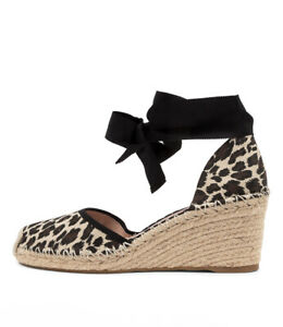 New Mollini Jayny Tan Ocelot Fabric Womens Shoes Casual Shoes Heeled