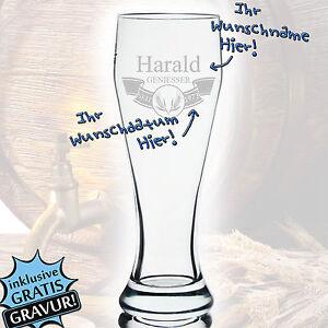 Bicchiere di birra birra grano vetro con incisione regalo personifizierter