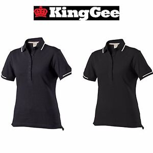 Womens KingGee Corporate Polo Shirt Top Modern Fit Pique Knit Work ... 7af197facd