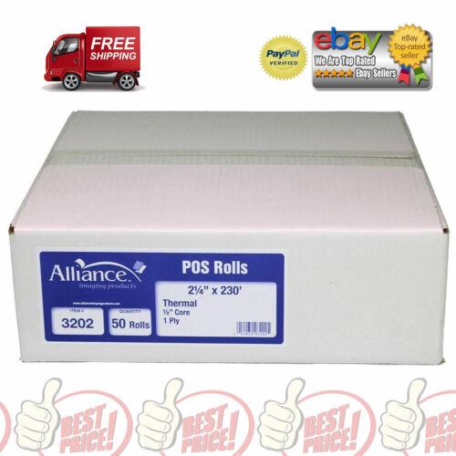 "2 1//4/"" x 230/' Alliance Thermal Paper Receipt Rolls 50 Rolls *BEST DEAL* White"