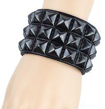 Gun Metal Pyramid Stud Leather Punk Goth Club Rockabilly Bracelet