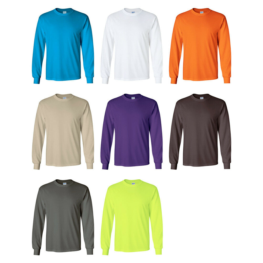 17 PK Gildan Ultra Cotton Long Sleeve T-Shirts 2400