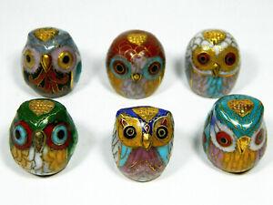 Vintage Chinese Cloisonne Enamel Set of 6 Owl Head Shape Thimble/Thumbstall