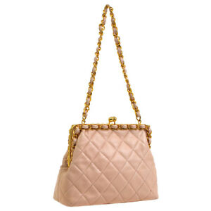 33f0eeac39eada Auth CHANEL Quilted CC Logos Chain Hand Bag Light Pink Leather ...