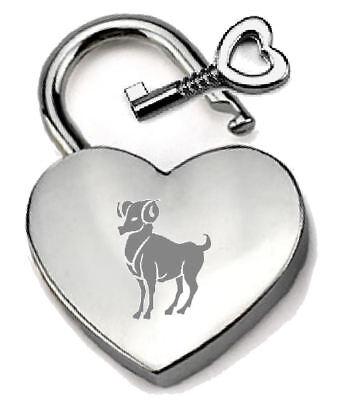 Gut Ausgebildete Silberfarben Herz Vorhängeschloss Personalisiert Aries Graviert