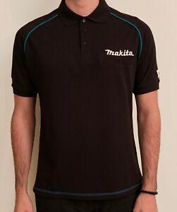 10-x-Makita-Black-Polo-Shirt-T-Shirts-Black-With-Collar-White-Stitched-Logo-L