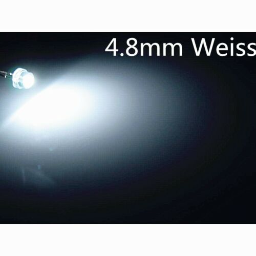 100 x a0303 4,8mm white Superhelle weiße 5LM 4.8mm StrawHat LEDs