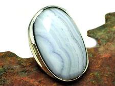 Ágata De Encaje Azul Ajustable de Plata Esterlina 925 Anillo de piedras preciosas