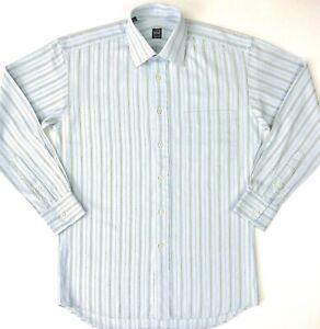 Ike-Behar-New-York-Dress-Shirt-Long-Sleeve-100-Cotton-Button-Blue-Striped-Mens-S