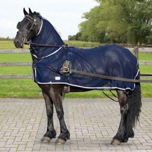 QHP-Geschirr-Fliegendecke-Fahrpferd-Kutschpferd-Kutschdecke-Fahrdecke-blau-neu