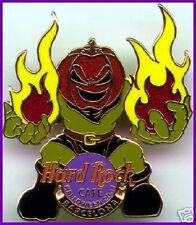 Hard Rock Cafe BARCELONA 2001 HALLOWEEN PIN Pumpkin Head Monster with Flames