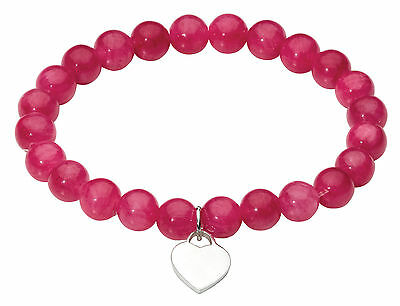 Dew Ladies Elasticated Stacking Bracelet with Pink Aventurine Beads and Heart
