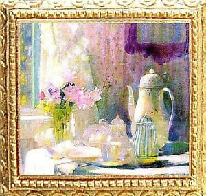 BREAKFAST TABLE Dollhouse Picture FRAMED Miniature Art - MADE IN AMERICA