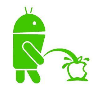 Android weeing su APPLE FUNNY LOGO Adesivo Vinile Decalcomanie (13 colori disponibili)