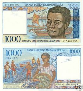 Gentle Madagascar 1000 Francs/200 Ariary P-76 1994 Serie A Unc Coins & Paper Money