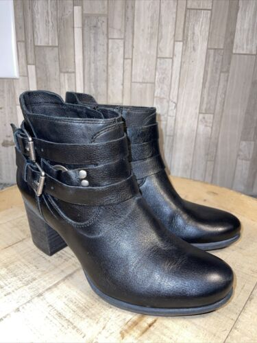 Josef Seibel Britney Black Leather  Ankle Booties