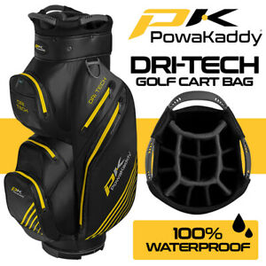 PowaKaddy-Dri-Tech-14-WAY-Waterproof-Golf-Cart-Bag-Black-Gun-Yellow-NEW-2020