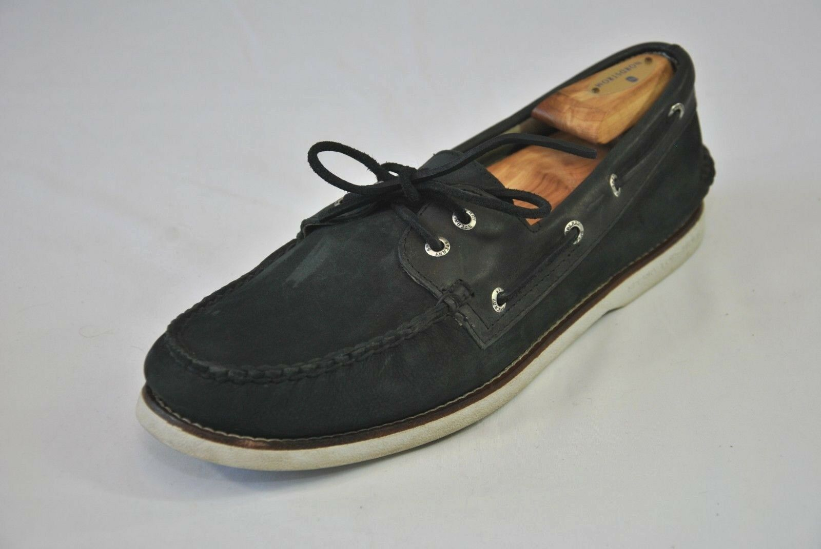 Sperry Top Sider gold Cup Black Suede shoes Men's Size 12 Boat Deck