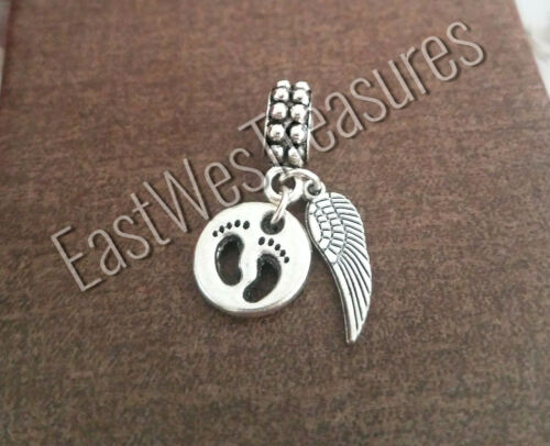 Mom to a baby Angel footprints on sand charm pendant bracelet necklace jewelry
