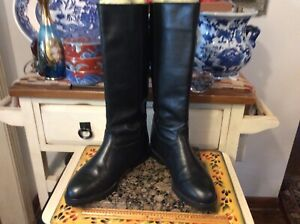 black leather pull -on BOOTS 8M | eBay