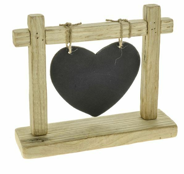 Rustic Wooden Heart Chalk Memo Board Blackboard Hung On Frame Stand