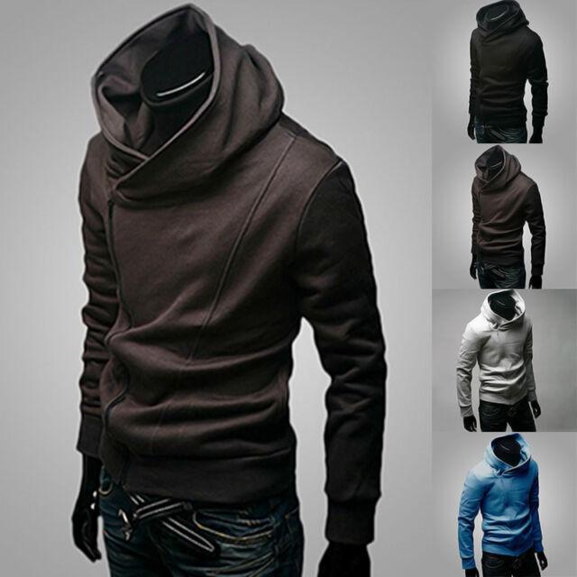Hot Mens Zip Stylish Hoodies Slim Dust Coat Jacket Sweater Warm Overcoat