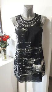 Tunique robe grise top haut blouse taille 2 M 38 40 femme woman dress 8 10