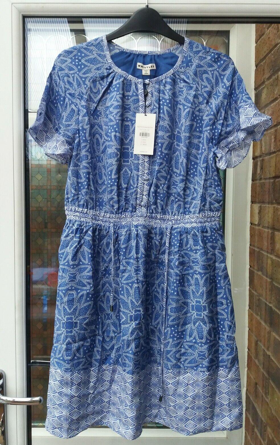 BNWT Whistles Riya Print Drawstring Dress Blau UK10 12 rrp