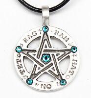 Pewter Pentagram Tetragrammaton Blue Topaz Crystal December Birthstone Pendant