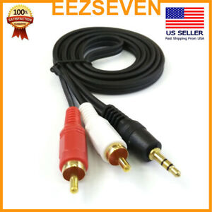 2Pack-AUX-Auxiliary-3-5mm-Audio-Male-to-2-RCA-Y-Male-Stereo-Cable-Cord-Wire-Plug