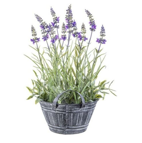 Artificial Lavender Fake Flower Plant in Rustic Pot for Decorations 7.5 x 13.5