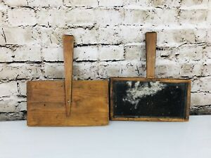 """Wool Paddles Brushes10.5"""" Antique 1800's Matching Pair of Cotton Card"""