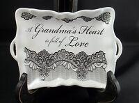 Decorative Trinket Candy Dish A Grandma's Heart Is Full Of Love Utensil Holder