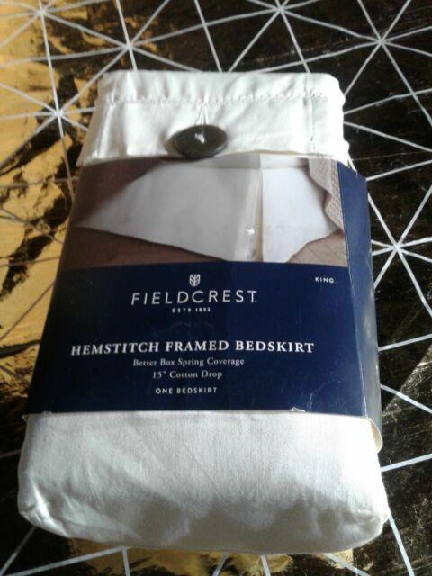 Fieldcrest King Bed Skirt Hemstitch Shell Cream Color