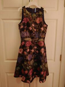 Women-Tahari-ASL-Fit-and-Flare-Black-Metallic-Flower-Sleevless-Dress-Size-2
