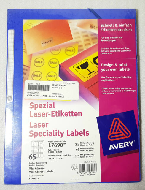 AVERY L7690 Laser Speciality Labels Silver Colour 38.1 x 21.2mm Sheet pack 25