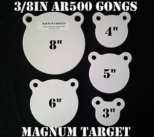 3-4-5-6-amp-8in-AR500-Gong-Shooting-Targets-3-8in-Fusil-Cibles-Acier-5pc-objectifs