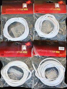4m Expansion Rideau Blanc Fil Net Voilà Avec 6 Crochets & Yeux Portes Windows-afficher Le Titre D'origine
