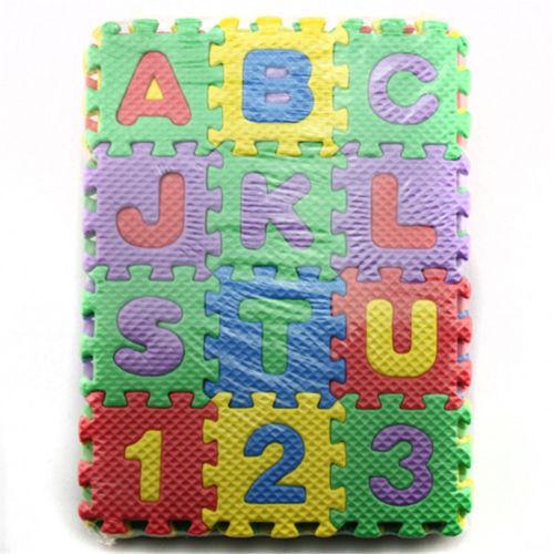 36x Alphabet Letter Numeral Foam PlayMat Unisex Mini Puzzle Kid Educational Toy