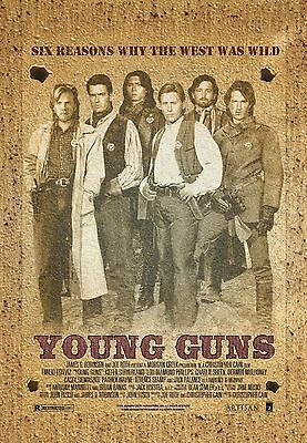 "wild west vintage YOUNG GUNS Silk Fabric Movie Poster  24/""X36/"" kiefer SUTHERLAND"