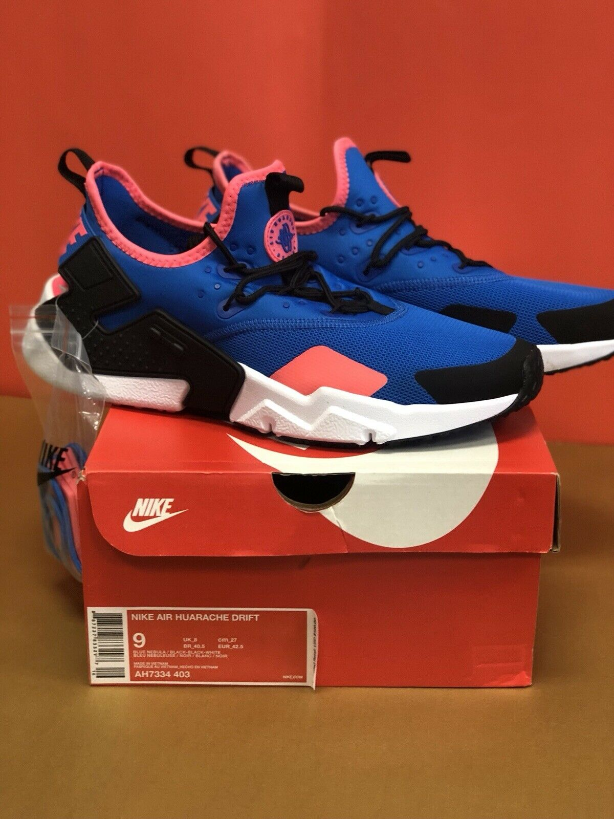 New NIKE AIR HUARACHE DRIFT shoes Size 9 With Box AH7334 403 bluee Nebula