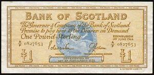 1966 BANK OF SCOTLAND 1 BANKNOTE  AP 0827653  gVF - Liverpool, United Kingdom - 1966 BANK OF SCOTLAND 1 BANKNOTE  AP 0827653  gVF - Liverpool, United Kingdom